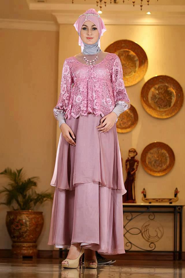 Gamis Long Dress Pesta Dusty Pink Jurnal Asia