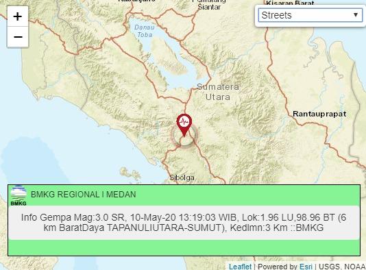 Gempa Tektonik Magnitudo 3,0 Dirasakan di Tarutung
