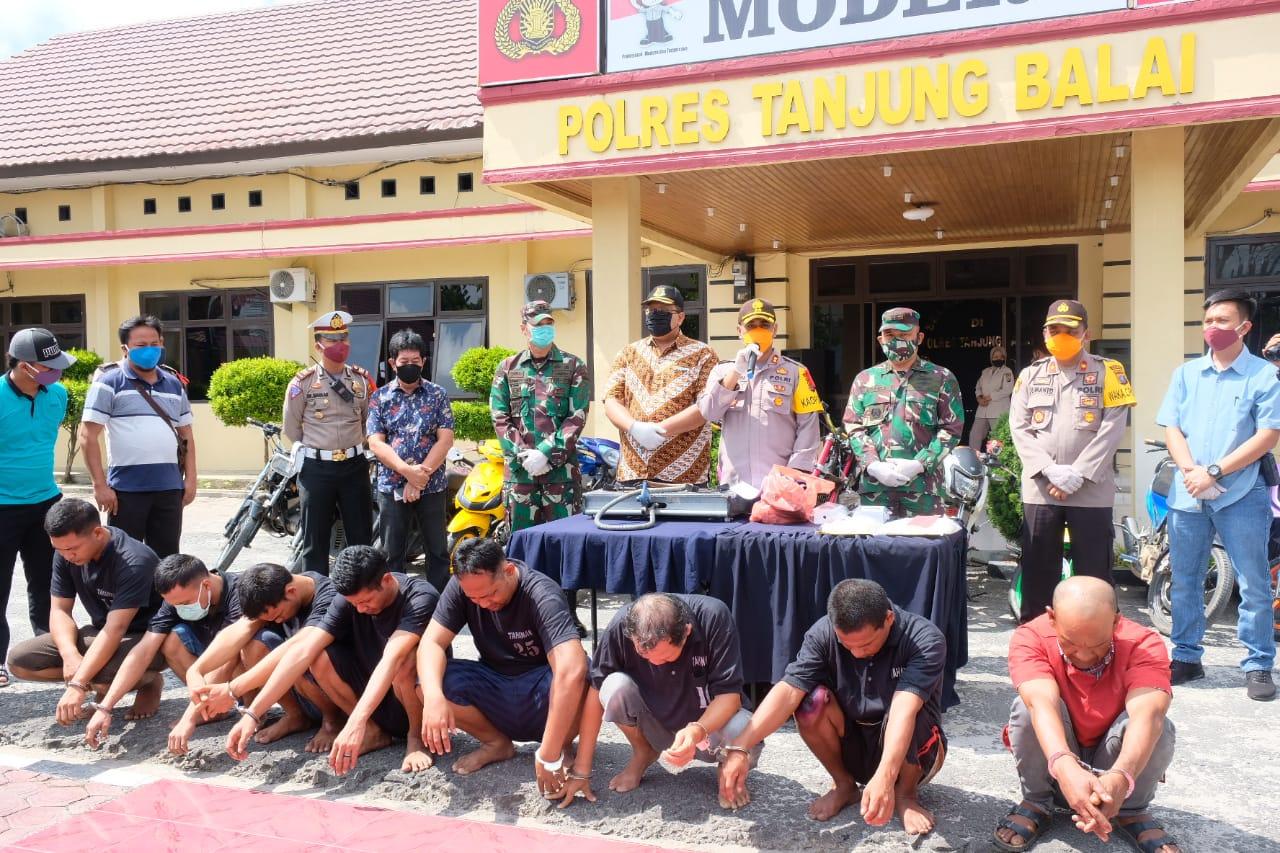 Selama Ramadhan, Polres Tanjungbalai Ringkus 1 Pencuri, 6 Pemadat Sabu dan 14 Ranmor