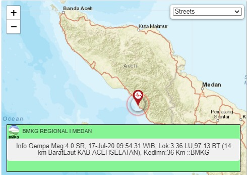 Gempa Tektonik M 4.0 di Aceh Selatan, BMKG : Tidak Berpotensi Tsunami