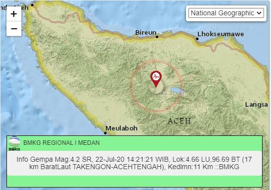 Gempa M 4,2 Guncang Takengon, Ini Analisis BMKG