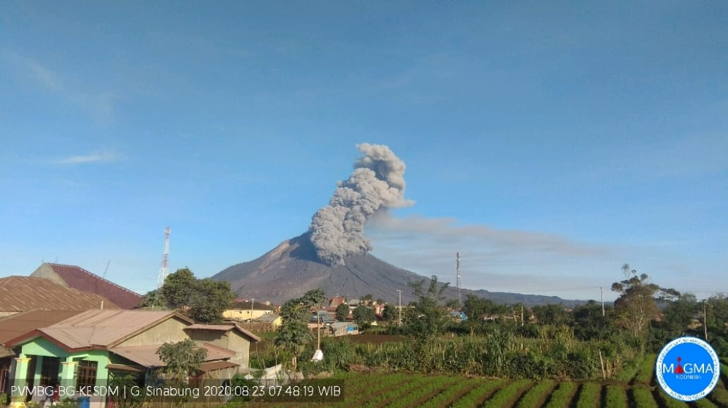 Minggu Pagi, Gunung Sinabung Semburkan Abu Vulkanik Setinggi 1000 Meter! Awan Panas Mengarah ke Tenggara