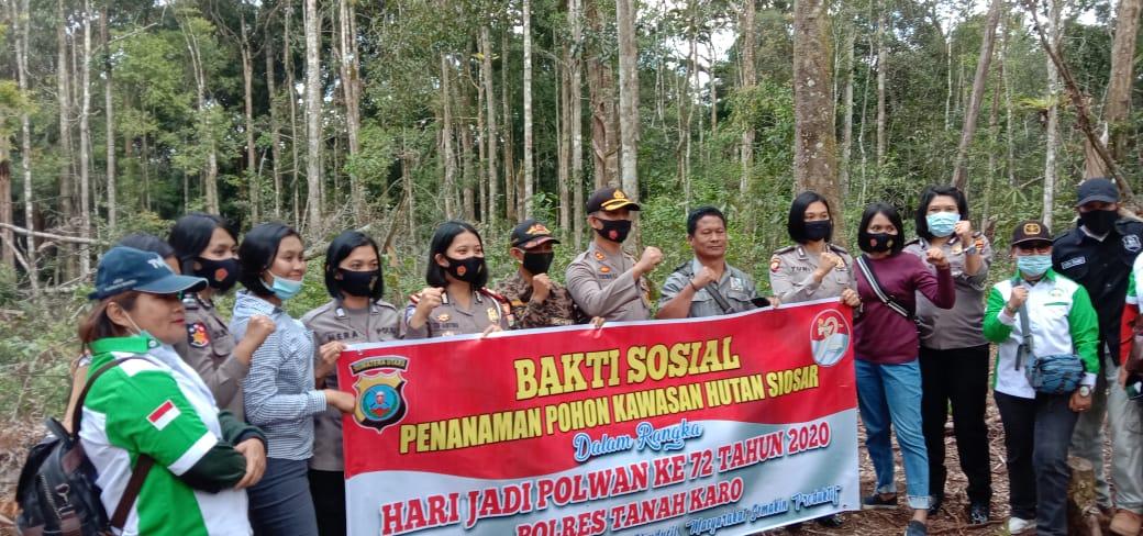 Kapolres Karo Bersama DPD Walantara dan Koswari Tanam 1.000 Pohon